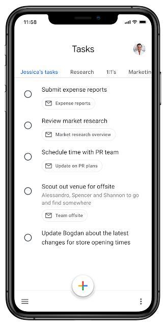 Google Tasks tabs