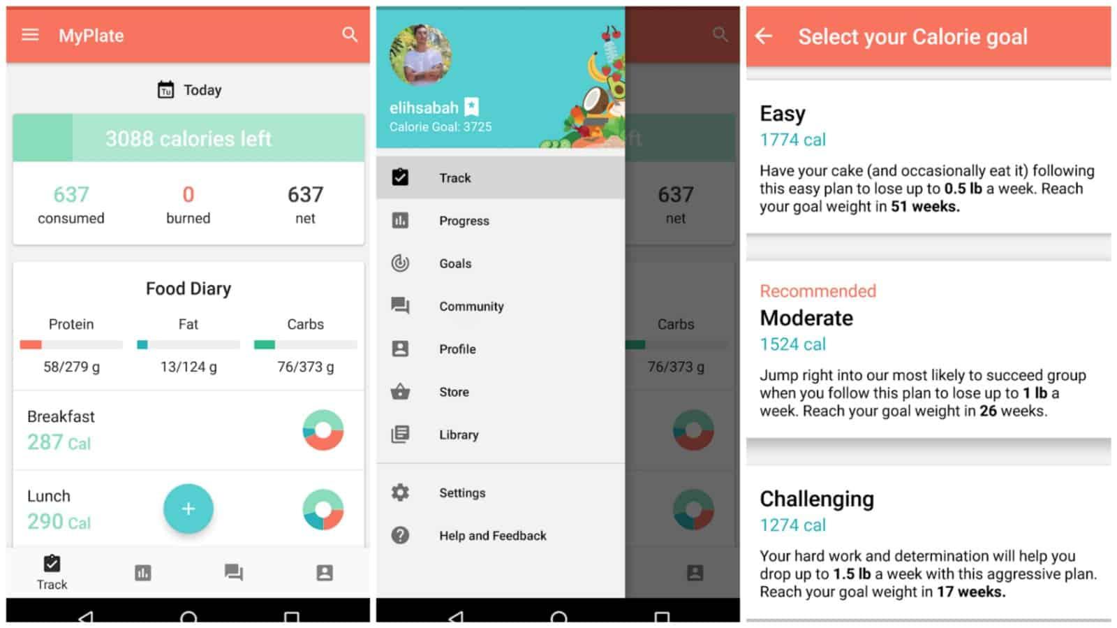 MyPlate Calorie Tracker app grid image