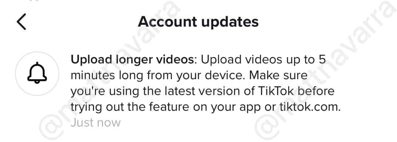 TikTok videos five minutes