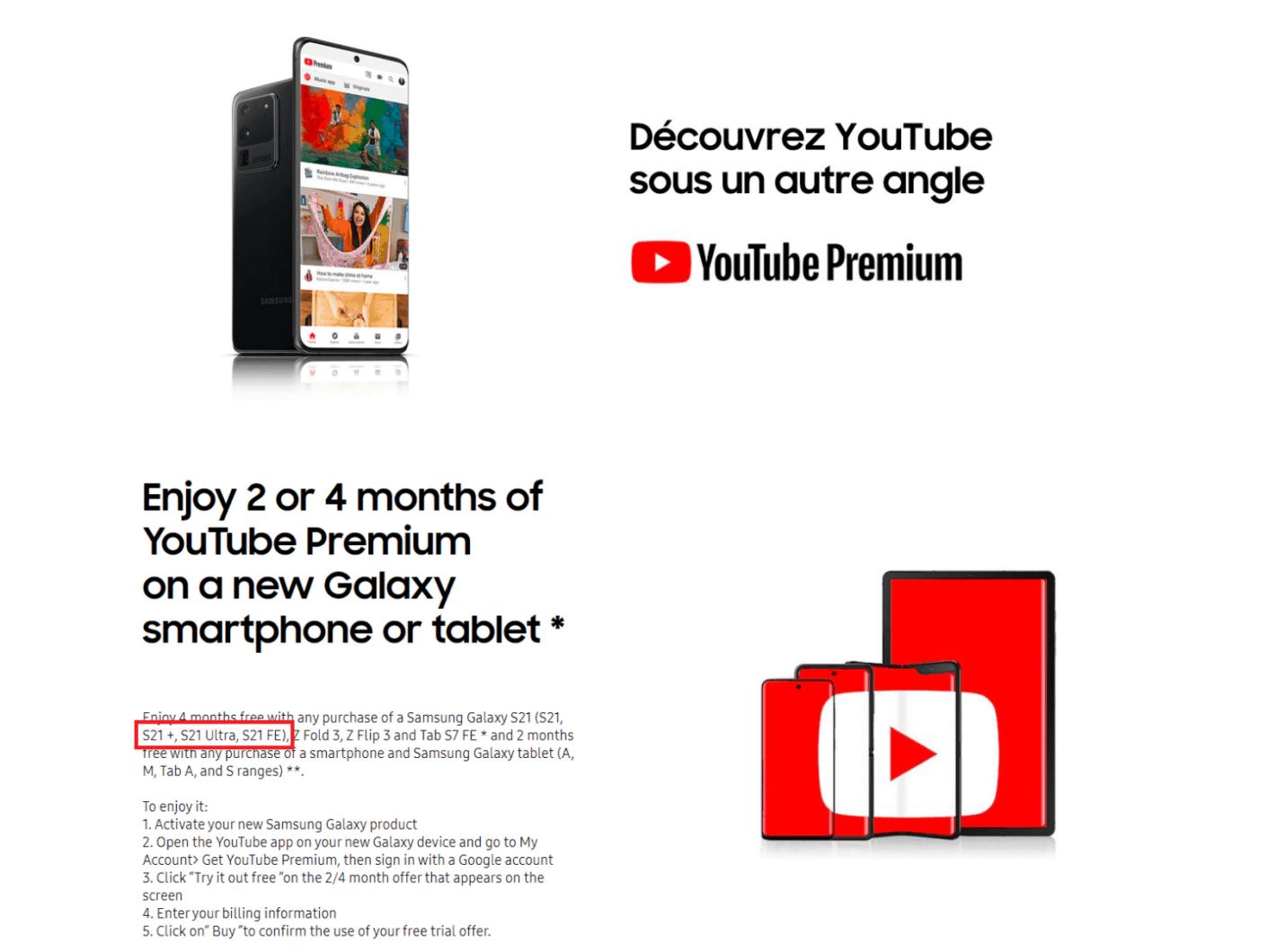 Galaxy S21 FE - YouTube Premium