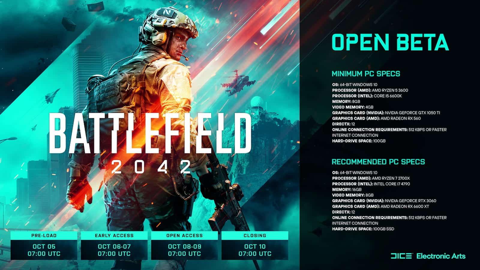 Battlefield 2042 PC Beta Spec Requirements