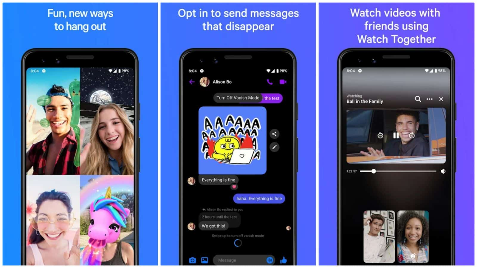 Facebook Messenger app grid 2021