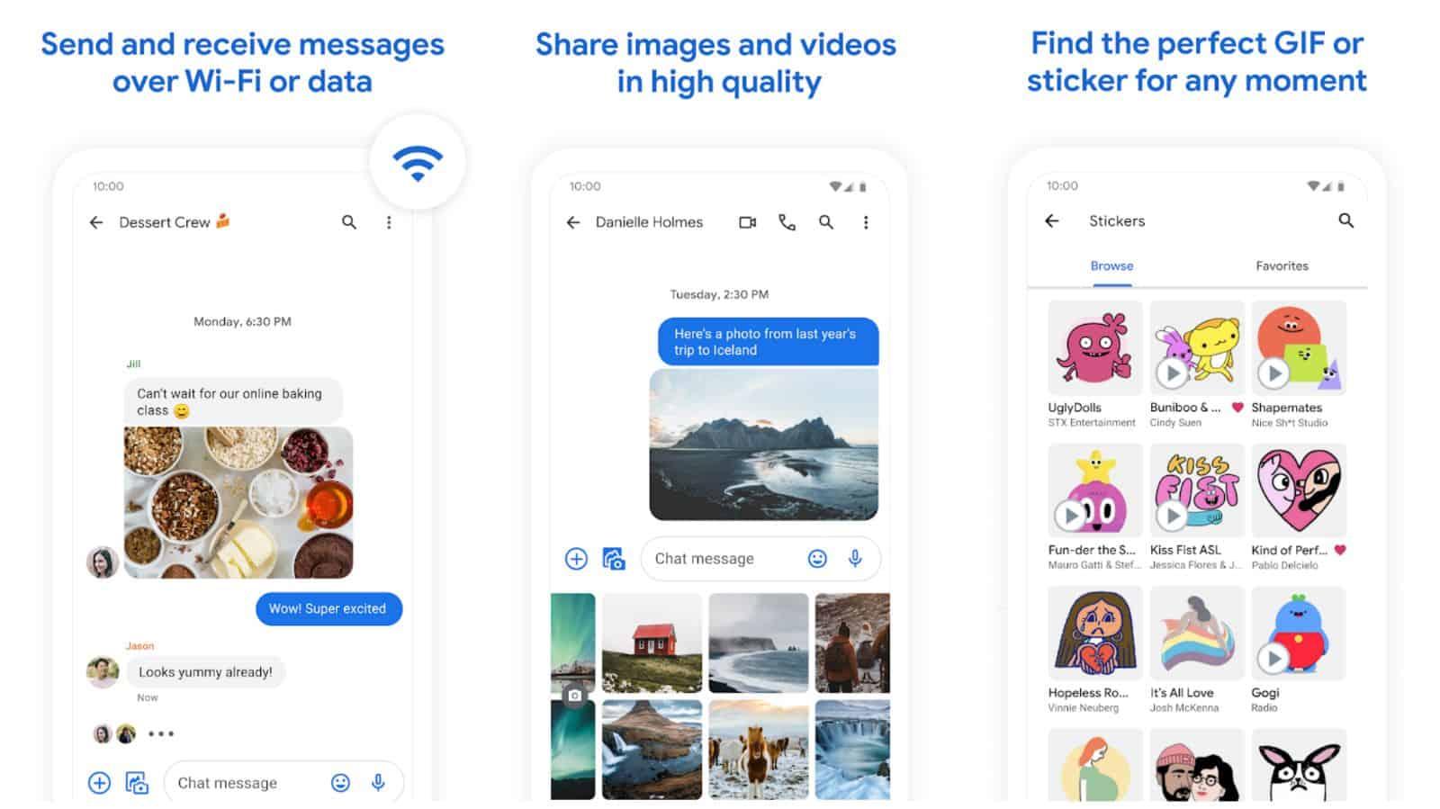 Google Messages app grid 2021