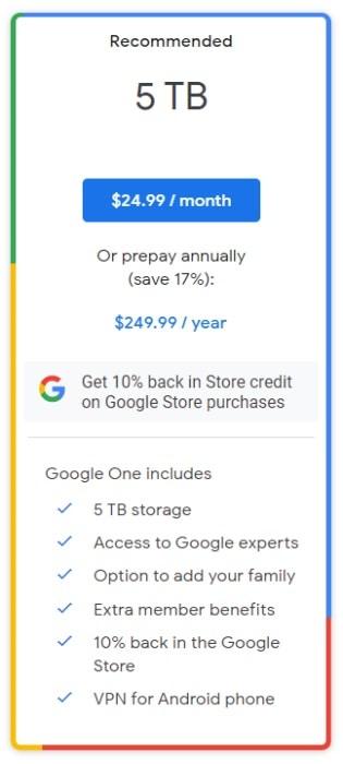 Google One 5TB plan