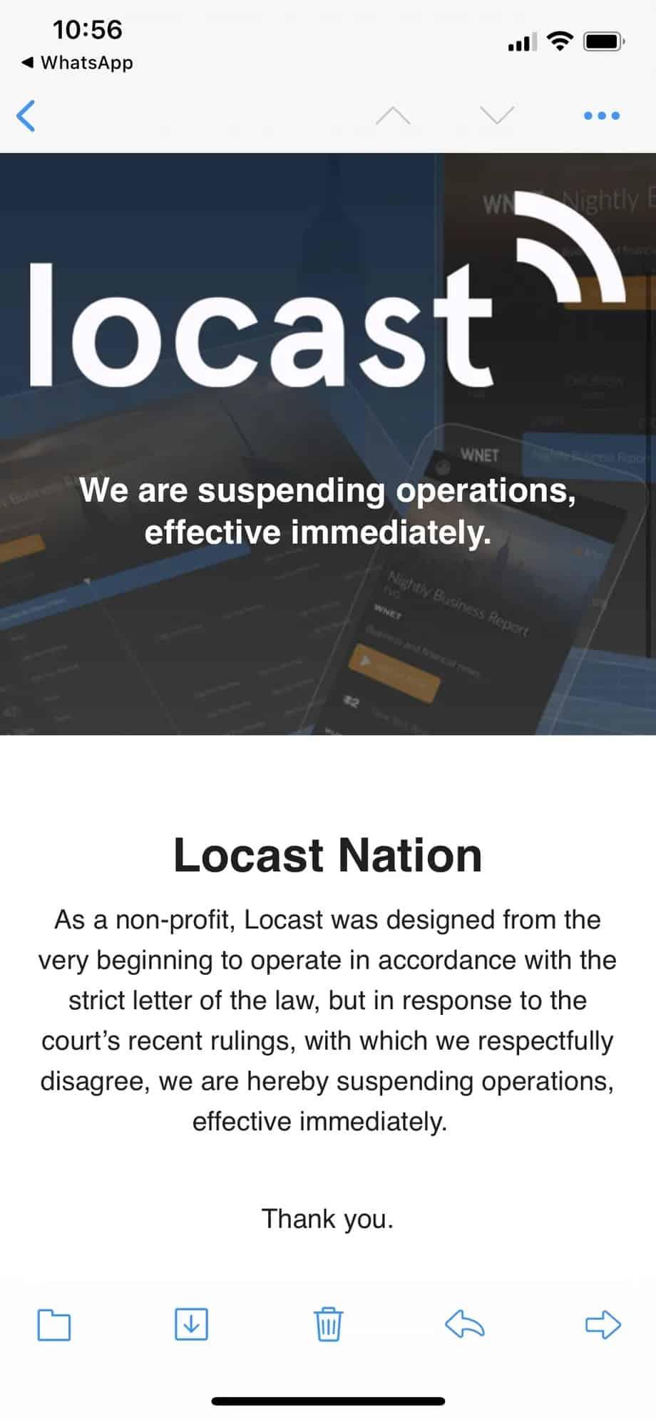 Locast streaming service suspend operation