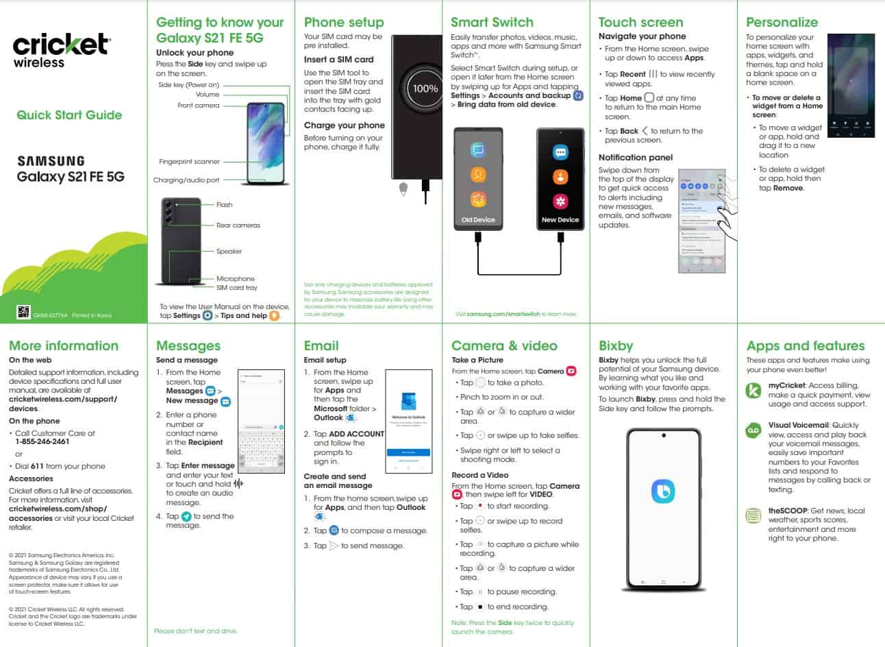 Samsung Galaxy S21 FE leak quick start guide cricket wireless