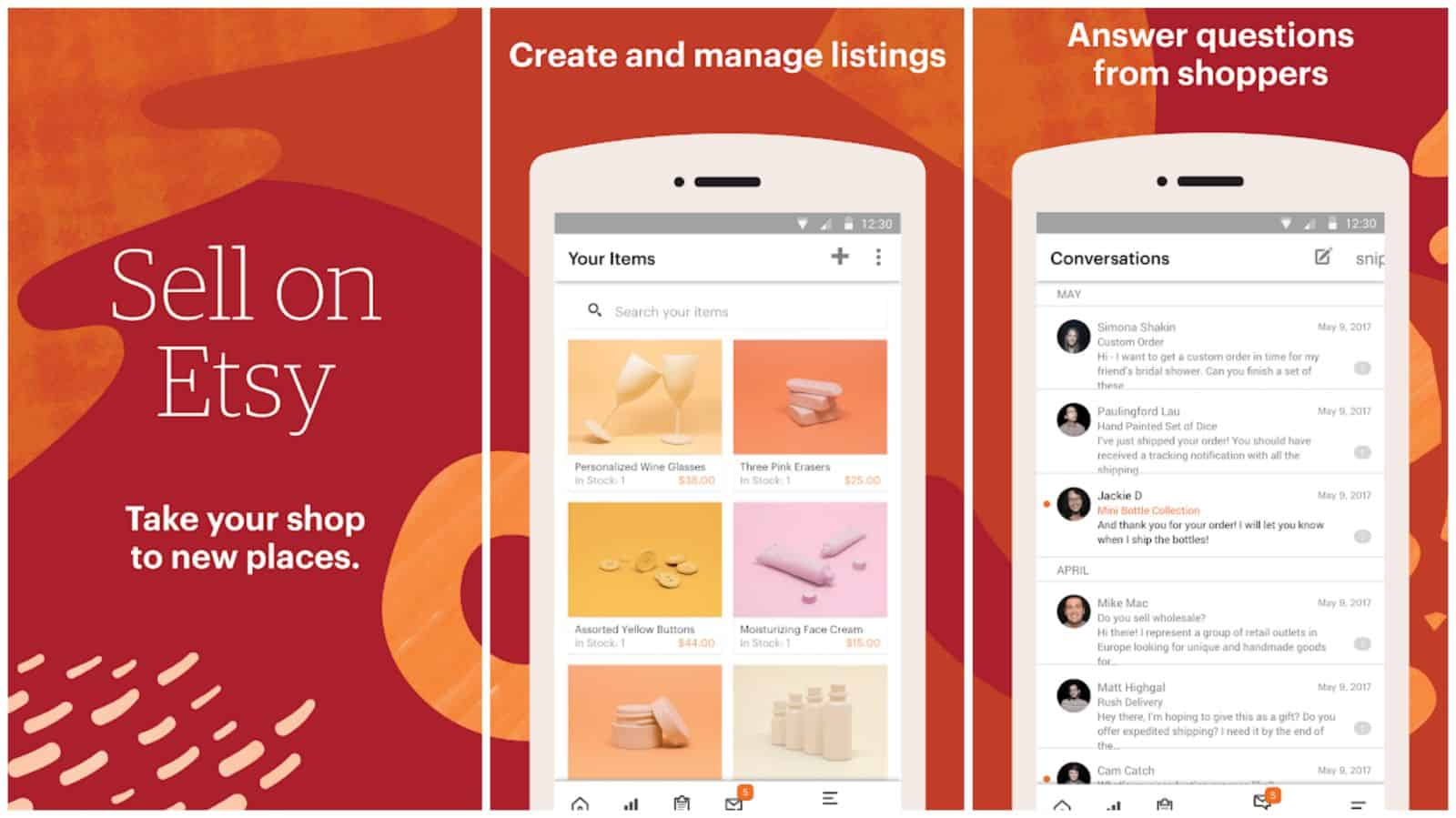 Sell on Etsy app grid image