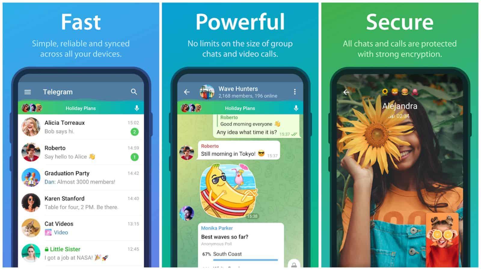 Telegram app grid 2021