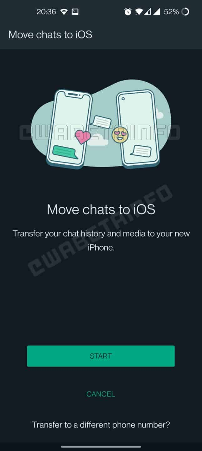 WhatsApp Android to iOS chat transfer
