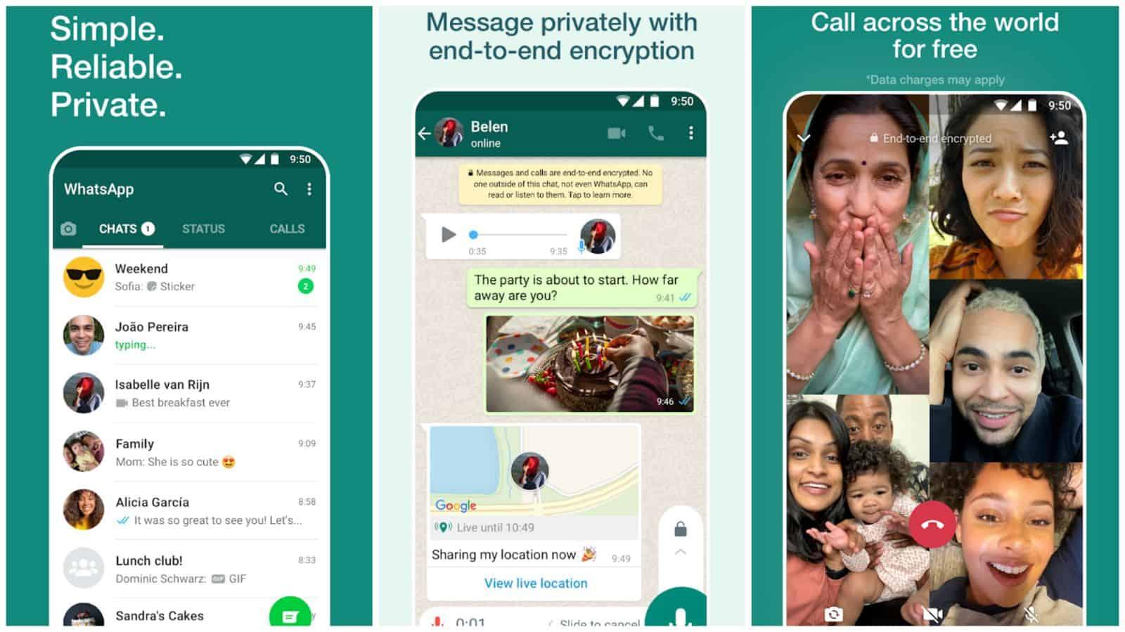 WhatsApp app grid 2021