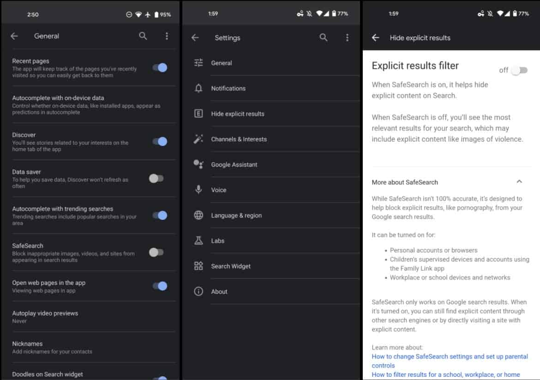 google app safesearch