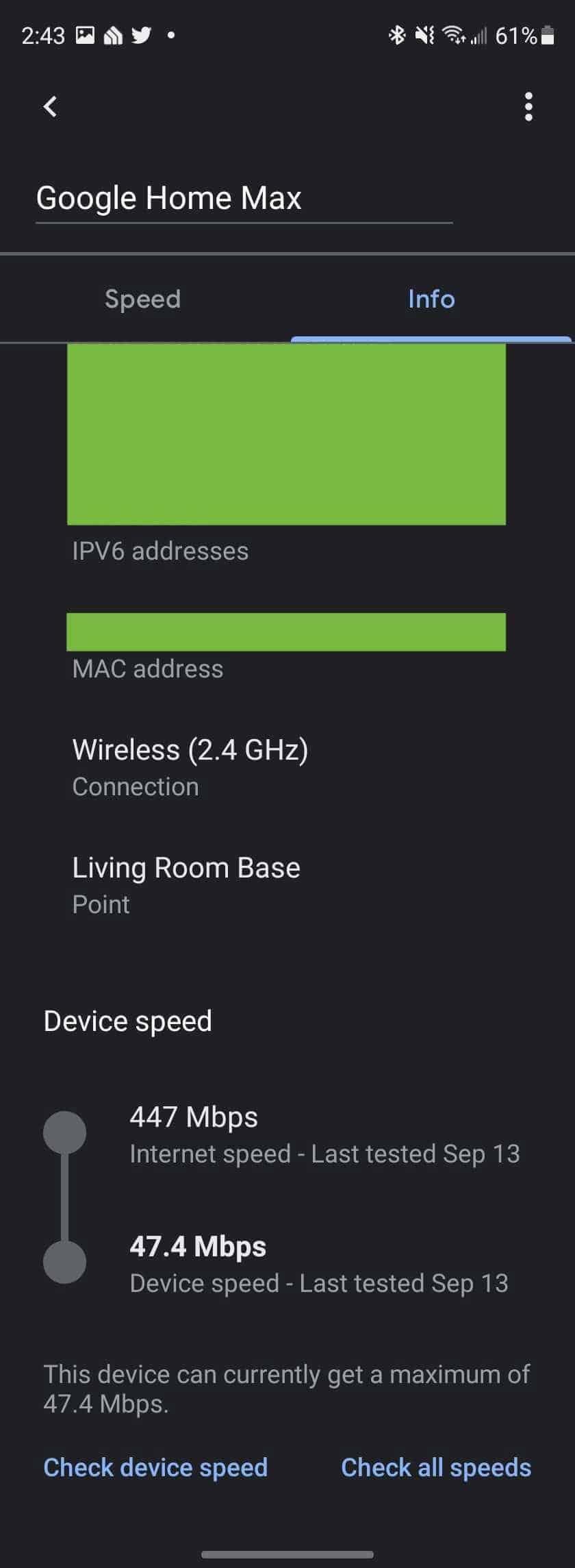 google home device speed test