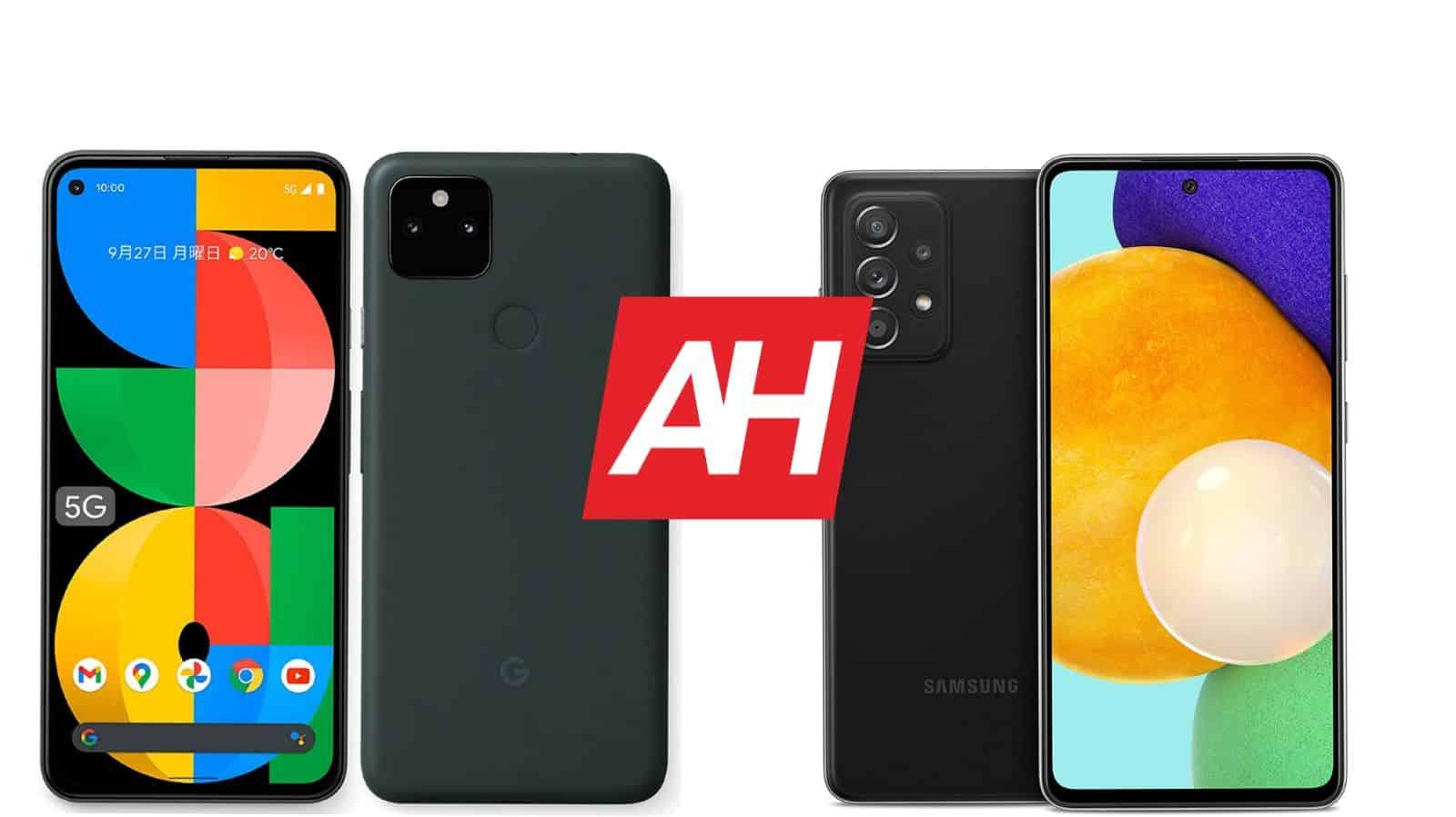 AH Google Pixel 5a 5G vs Samsung Galaxy A52 5G comparison