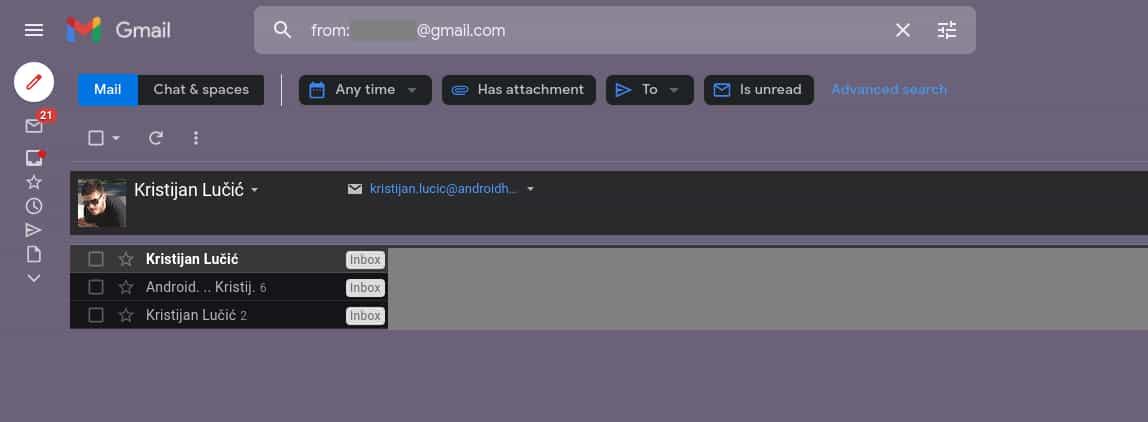 How to filter emails sender Gmail desktop 1b