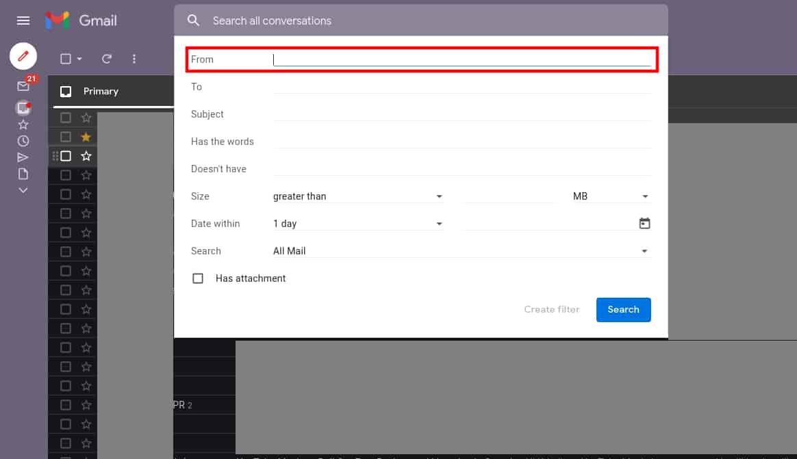 How to filter emails sender Gmail desktop 2b