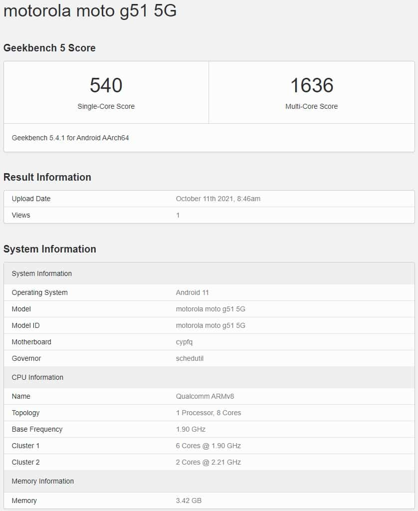 Motorola Moto G51 5G Geekbench