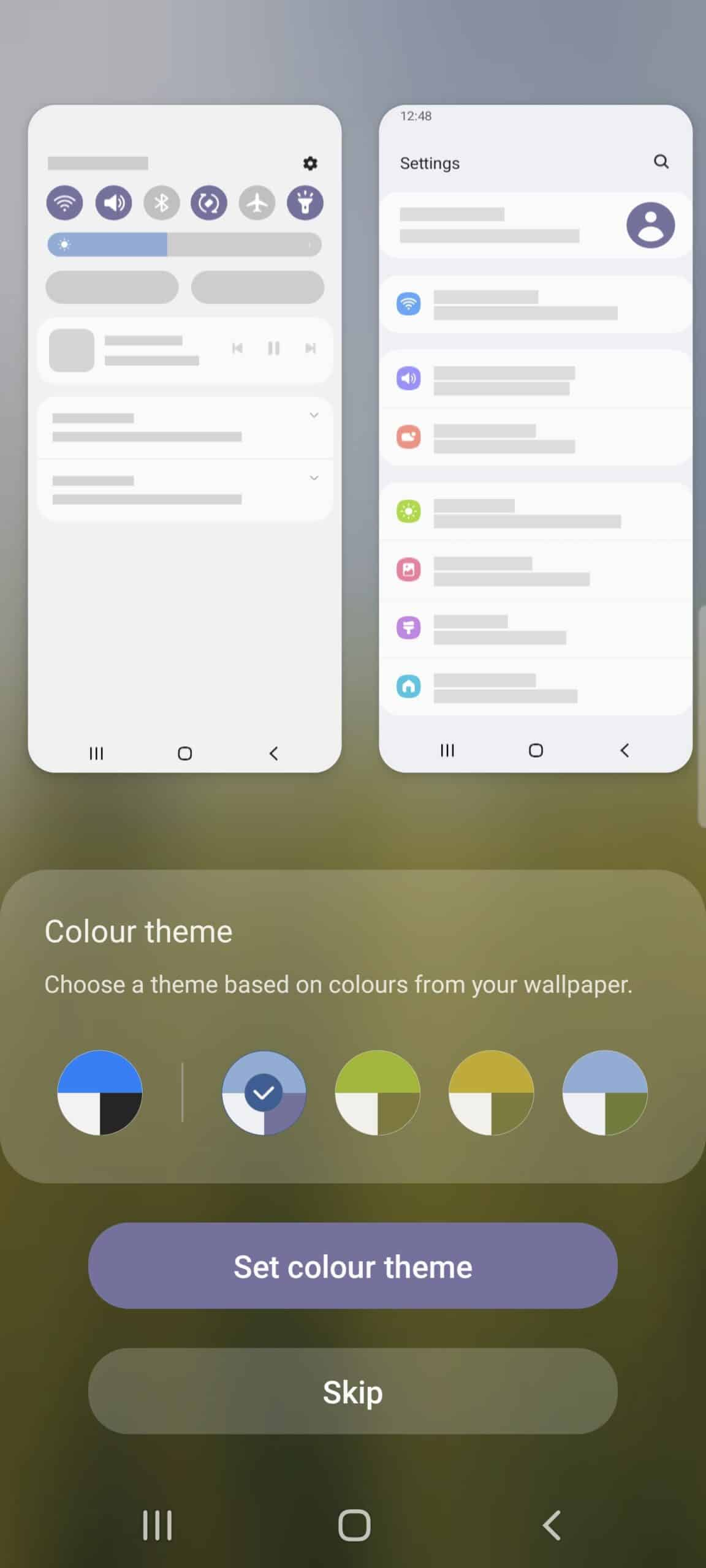 Samsung Galaxy S21 one UI 4 beta 2 dynamic coloring