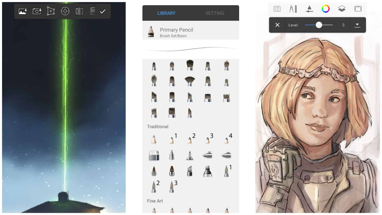 Sketchbook app grid image