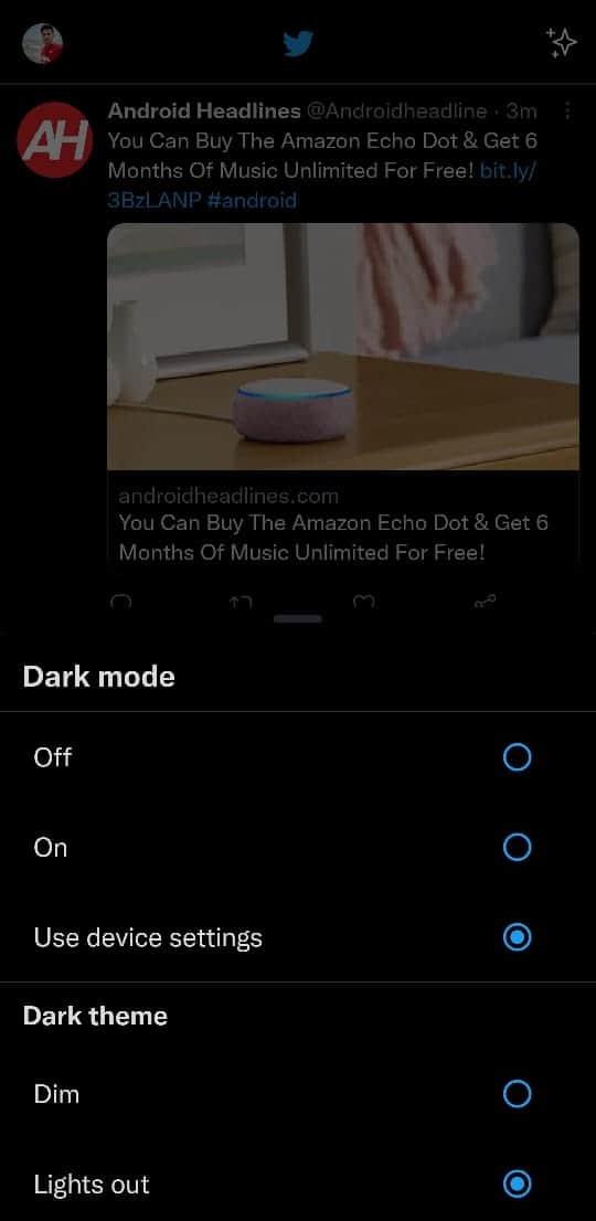 Twitter Android Dark mode